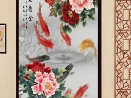 电视背景墙鱼戏莲叶间